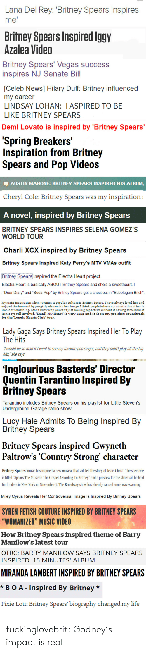 "Be Like, Bitch, and Britney Spears: Lana Del Rey. 'Britney Spears inspires  me'  Britney Spears Inspired lggv  Azalea Video  Britney Spears' Vegas success  inspires NJ Senate Bill  [Celeb News] Hilary Duff: Britney influenced  my career  LINDSAY LOHAN: I ASPIRED TO BE  LIKE BRITNEY SPEARS  Demi Lovato is inspired by 'Britney Spears  Spring Breakers'  Inspiration from Britney  Spears and Pop Videos  AUSTIN MAHONE: BRITNEY SPEARS INSPIRED HIS ALBUM,  Cheryl Cole: Britney Spears was my inspiration   A novel, inspired by Britney SpearS  BRITNEY SPEARS INSPIRES SELENA GOMEZ'S  WORLD TOUR  Charli XCX inspired by Britney Spears  Britney Spears inspired Katy Perry's MTV VMAs outfit  Britney Spears inspired the Electra Heart project.  Electra Heart is basically ABOUT Britney Spears and she's a sweetheart.  : ""Dear Diary"" and ""Soda Pop"" by Britney Spears get a shout out in ""Bubblegum Bitch""  My main inspiration when it comes to popular culture is Britney Spears. 1 have alwaysloved her and  enjoyed the innocenthyper-girly elementin he imagethink people believe my admiration ofher is  onicor something.1don't know whvvou can'tiust love big pop artists without it having somekind of  ironiceye rl involved. 'Email My Heart' is very 1999 and it is on my pre-show soundtrack  for the 'Lonely Hearts Club' tour  Lady Gaga Says Britney Spears Inspired Her lo Play  The Hits  7 would be so mad ifI went to see my favorite pop singer, and they didn t play all the big  hits, ""she says  'Inglourious Basterds' Director  Ouentin Tarantino Inspired Bv  Britney Spears  Tarantino includes Britney Spears on his playlist for Little Steven's  Underground Garage radio shoW   Lucy Hale Admits To Being Inspired Bv  Britney Spears  Britney Spears inspired Gwyneth  Paltrow's 'Country Strong' character  Britney Spears' music has inspired a new musical that will tell the story of Jesus Christ. The spectacle  is titled ""Spears The Musical: The Gospel According To Britney"" and a preview for the show will be held  tor funders in New York ves among  on November 7. The Broadway show has already caused some wa  Miley Cyrus Reveals Her Controversial Image Is Inspired By Britney Spears  SYREN FETISH COUTURE INSPIRED BY BRITNEY SPEARS  ""WOMANIZER"" MUSIC VIDEO  How Britney Spears inspired theme of Barryy  Manilow's latest tour  OTRC: BARRY MANILOW SAYS BRITNEY SPEARS  INSPIRED '15 MINUTES' ALBUM  MIRANDA LAMBERT INSPIRED BY BRITNEY SPEARS  *BO A Inspired By Britney *  Pixie Lott: Britney Spears' biography changed my life fuckinglovebrit:  Godney's impact is real"