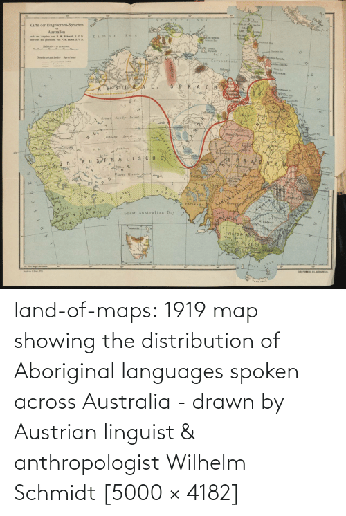 Australia: land-of-maps:  1919 map showing the distribution of Aboriginal languages spoken across Australia - drawn by Austrian linguist & anthropologist Wilhelm Schmidt [5000 × 4182]