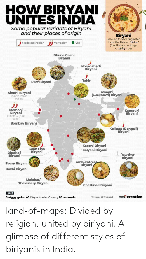 Religion: land-of-maps:  Divided by religion, united by biriyani. A glimpse of different styles of biriyanis in India.