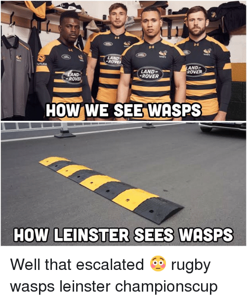 Rugby, How, and Land Rover: LAND  ROVE  LAND  ROVER  ROVER  AND  ROVER  .  HOW WE SEE WASPS  HOW LEINSTER SEES WASPS Well that escalated 😳 rugby wasps leinster championscup