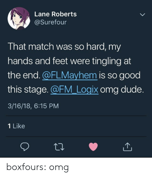 roberts: Lane Roberts  @Surefour  That match was so hard, my  hands and feet were tingling at  the end.@FLMayhem is so good  this stage. FM Logix omg dude.  3/16/18, 6:15 PM  1 Like boxfours:  omg