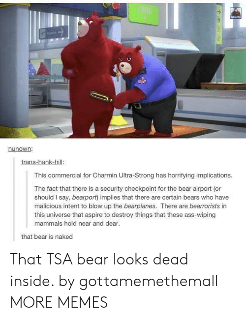 Ass, Dank, and Memes: LANE  Saierb  nunown:  trans-hank-hill:  This commercial for Charmin Ultra-Strong has horrifying implications.  The fact that there is a security checkpoint for the bear airport (or  should I say, bearport) implies that there are certain bears who have  malicious intent to blow up the bearplanes. There are bearrorists in  this universe that aspire to destroy things that these ass-wiping  mammals hold near and dear.  that bear is naked That TSA bear looks dead inside. by gottamemethemall MORE MEMES