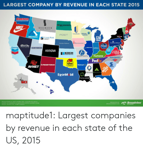 Tumblr, Blog, and Cloud: LARGEST COMPANY BY REVENUE IN EACH STATE 2015  URESO  GM  CLOUD PEAK  Humana  FedEx  AVNET  ExonM bil  GCI  e Broadview maptitude1:  Largest companies by revenue in each state of the US, 2015