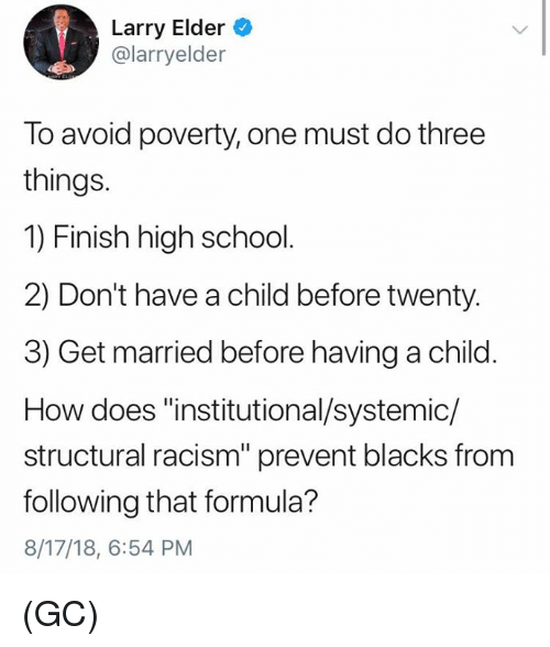 "Memes, Racism, and School: Larry Elder  @larryelder  To avoid poverty, one must do three  things.  1) Finish high school.  2) Don't have a child before twenty  3) Get married before having a child  How does ""institutional/systemic/  structural racism"" prevent blacks from  following that formula?  8/17/18, 6:54 PM (GC)"