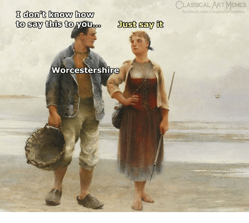 How To Say: LASSİCALART MEMES  facebook.com/classicalartmemes  I don t know how  to say this to  Just say it  Worcestershire