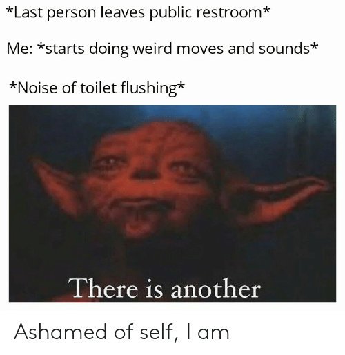 Reddit, Weird, and Another: *Last person leaves public restroom*  Me: *starts doing weird moves and sounds*  *Noise of toilet flushing*  There is another Ashamed of self, I am