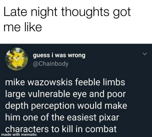 Pixar, Guess, and Perception: Late night thoughts got  me like  guess i was wrong  @Chainbody  mike wazowskis feeble limbs  large vulnerable eye and poor  depth perception would make  him one of the easiest pixar  characters to kill in combat  made with mematic