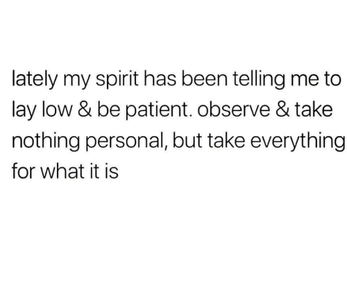 Observe: lately my spirit has been telling me to  lay low & be patient. observe & take  nothing personal, but take everything  for what it is