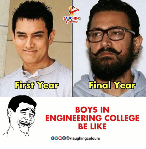 Be Like, College, and Gooo: LAUGHING  First Year  Final Year  BOYS IN  ENGINEERING COLLEGE  BE LIKE  GOOO/laughingcolours