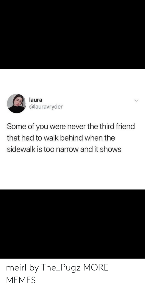 Dank, Memes, and Target: laura  @lauravryder  Some of you were never the third friend  that had to walk behind when the  sidewalk is too narrow and it shows meirl by The_Pugz MORE MEMES