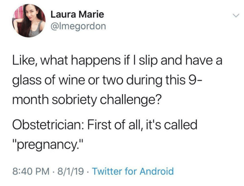 """Android, Twitter, and Wine: Laura Marie  @lmegordon  Like, what happens if I slip and have a  glass of wine or two during this 9-  month sobriety challenge?  Obstetrician: First of all, it's called  """"pregnancy.""""  8:40 PM 8/1/19 Twitter for Android"""