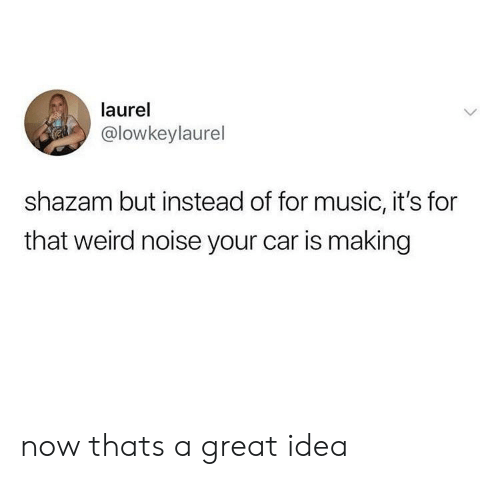 Music, Shazam, and Weird: laurel  @lowkeylaurel  shazam but instead of for music, it's for  that weird noise your car is making now thats a great idea