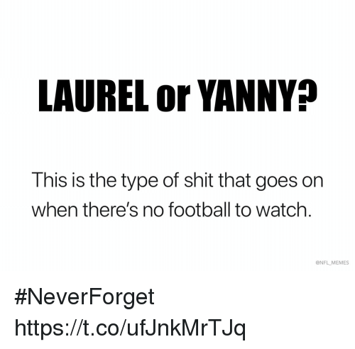 Football, Memes, and Nfl: LAUREL or YANNY?  This is the type of shit that goes on  when there's no football to watch.  @NFL MEMES #NeverForget https://t.co/ufJnkMrTJq