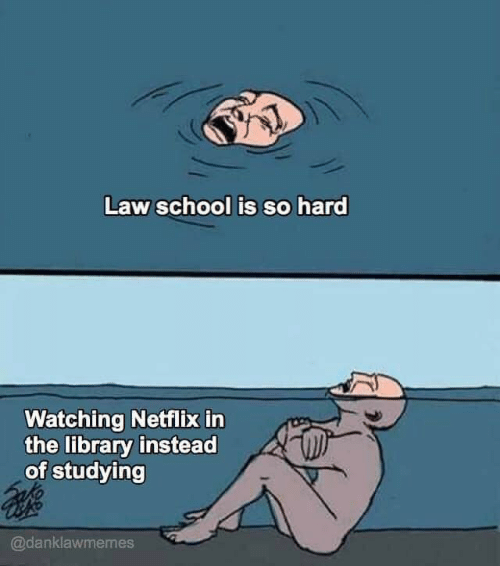 Netflix, School, and Library: Law school is so hard  Watching Netflix in  the library instead  of studying  @danklawmemes