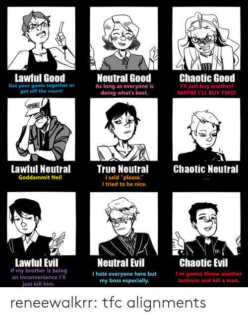 """Target, True, and Tumblr: Lawful Good  Neutral Good  As long as everyone is  doing what's best.  Chaotic Good  Get your game together or  get off the court!  I'll just buy another!  MAYBE I'LL BUY TWO!  PSU  Lawful Neutral  True Neutral  I said """"please.""""  I tried to be nice.  Chaotic Neutral  Goddammit Neil  'EA  Lawful Evil  If my brother is being  an inconvenience I'll  Neutral Evil  Chaotic Evil  T hate everyone here but  my boss especially.  I'm gonna throw another  tantrum and kill a man.  just kill him. reneewalkrr:  tfc alignments"""
