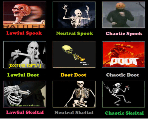 Chaotic, The West, and West: Lawful Spook  Neutral Spook  Chaotic Spook  [DOOTING SOFTLY  Lawful Doot  Doot Doot  Chaotic Doot  The fastest apock in the west  Lawful Skeltal  Neutral Skeltal  Chaotic Skeltal