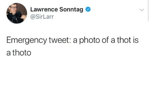 Thot, Emergency, and Photo: Lawrence Sonntag  @SirLarr  Emergency tweet: a photo of a thot is  a thoto