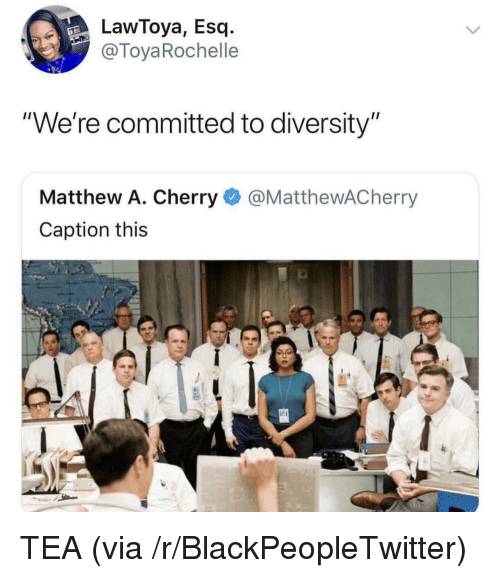 "Matthew A: LawToya, Esq.-  @ToyaRochelle  ""We're committed to diversity""  Matthew A. Cherry@MatthewACherry  Caption this TEA (via /r/BlackPeopleTwitter)"