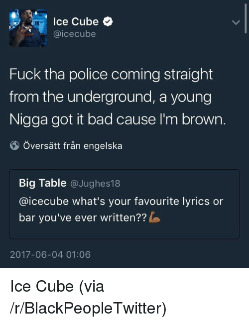 Bad, Blackpeopletwitter, and Ice Cube: lce Cube  @icecube  Fuck tha police coming straight  from the underground, a young  Nigga got it bad cause I'm brown.  Översätt från engelska  Big Table @Jughes18  @icecube what's your favourite lyrics or  bar you've ever written??  2017-06-04 01:06 <p>Ice Cube (via /r/BlackPeopleTwitter)</p>