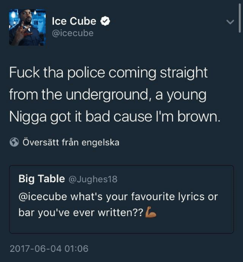 Bad, Police, and Fuck: lce Cube  @icecube  Fuck tha police coming straight  from the underground, a young  Nigga got it bad cause I'm brown.  Översätt från engelska  Big Table @Jughes18  @icecube what's your favourite lyrics or  bar you've ever written??  2017-06-04 01:06