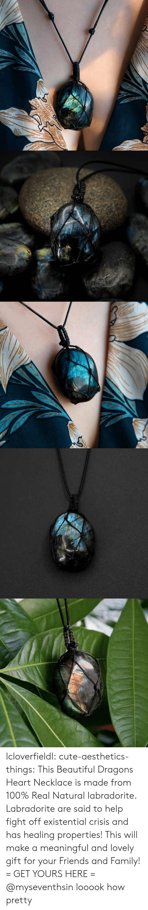 Anaconda, Beautiful, and Cute: lcloverfieldl: cute-aesthetics-things:  This Beautiful Dragons Heart Necklace is made from 100% Real Natural labradorite. Labradorite are said to help fight offexistential crisis and has healing properties! This will make a meaningful and lovely gift for your Friends and Family! = GET YOURS HERE =   @myseventhsin looook how pretty
