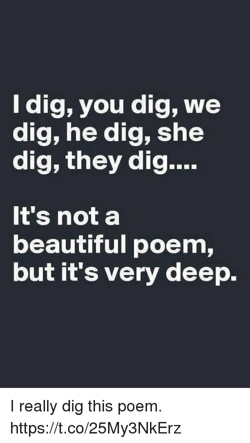 Beautiful, Memes, and 🤖: ldig, you dig, we  dig, he dig, she  dig, they dig  It's not a  beautiful poem,  but it's very deep. I really dig this poem. https://t.co/25My3NkErz