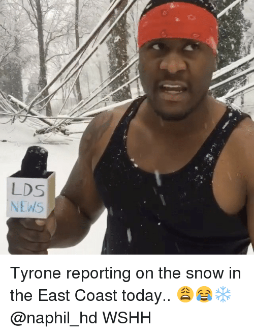 Memes, News, and Wshh: LDS  NEWS Tyrone reporting on the snow in the East Coast today.. 😩😂❄️ @naphil_hd WSHH