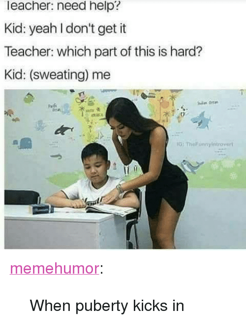 "Teacher, Tumblr, and Yeah: leacher: need help?  Kid: yeah I don't get it  Teacher: which part of this is hard?  Kid: (sweating) me  G: TheFunnyintroveri <p><a href=""http://memehumor.net/post/171637435113/when-puberty-kicks-in"" class=""tumblr_blog"">memehumor</a>:</p>  <blockquote><p>When puberty kicks in</p></blockquote>"