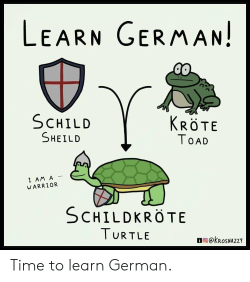 Time, Turtle, and Warrior: LEARN GERMAN!  SCHILD  KRÖTE  SHEILD  TOAD  I AM A  WARRIOR  SCHILDKROTE  TURTLE  OekRoSNAZZY Time to learn German.