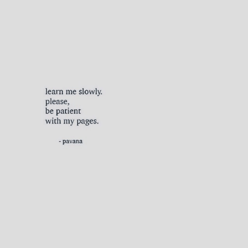 Patient, Pages, and Please: learn me slowly.  please,  be patient  with my pages.  -pavana