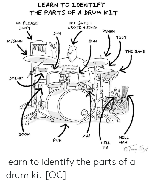 duh: LEARN TO LDENTLFY  THE PARTS oF A DRUM KIT  NO PLEASE  HEY GuYS I  WROTE A SONG  DON'T  PSHHH  DUH  TSST  KSSHHH  BUH  THE BAND  DOOP BOOp  DRUMMY  DRU  DOINK  BOOM  KA!  HELL  NAH  PUH  HELL  YA learn to identify the parts of a drum kit [OC]