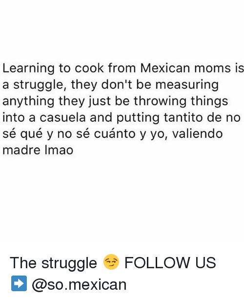 Memes, Moms, and Struggle: Learning to cook from Mexican moms is  a struggle, they don't be measuring  anything they just be throwing thing:s  into a casuela and putting tantito de no  sé qué y no sé cuánto y yo, valiendo  madre Imao The struggle 😏 FOLLOW US➡️ @so.mexican