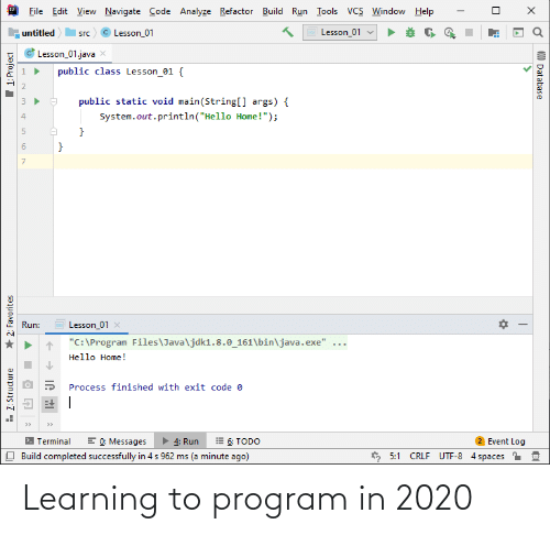 Learning: Learning to program in 2020