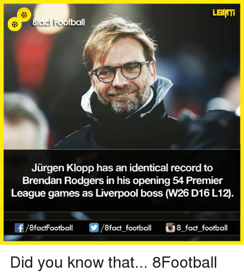 premiere league: LEARTi  Jurgen Klopp has an identical record to  Brendan Rodgers in his opening 54 Premier  League games as Liverpool boss  W26 D16 L12  OO  8fact football 8 fact football Did you know that...  8Football
