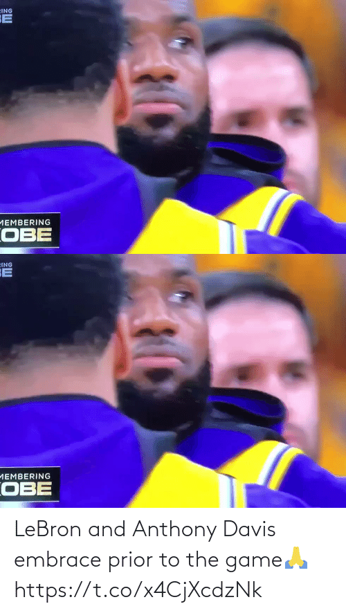 embrace: LeBron and Anthony Davis embrace prior to the game🙏 https://t.co/x4CjXcdzNk