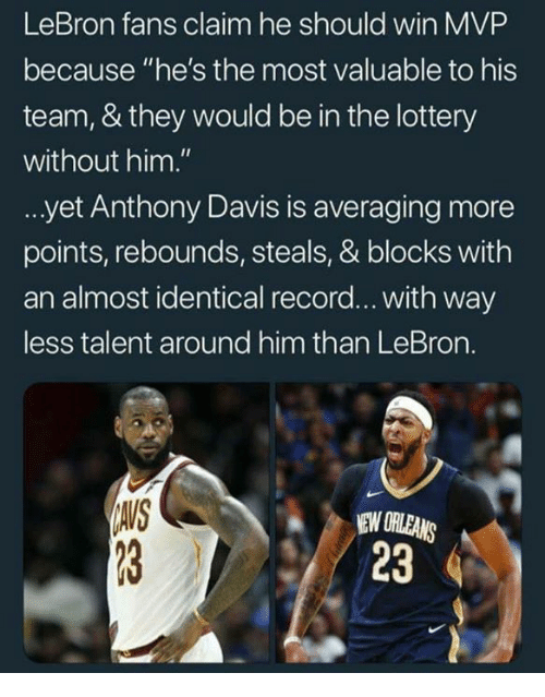 """Lottery, Anthony Davis, and Lebron: LeBron fans claim he should win MVP  because """"he's the most valuable to his  team, & they would be in the lottery  without him.""""  yet Anthony Davis is averaging more  points, rebounds, steals, & blocks with  an almost identical record... with way  ess talent around him than LeBron.  AVS  NEW ORLEANS  23"""