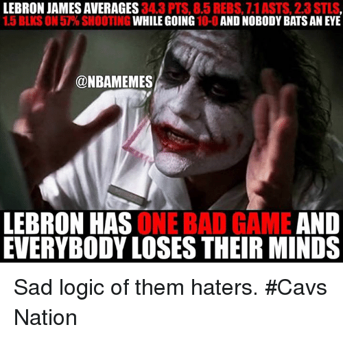 Bad, Cavs, and LeBron James: LEBRON JAMES AVERAGES  34.3 PTS, 8.5  REBS, 7.1 ASTS, 2.3 STLS  1.5 BLKS ON 57% SHOOTING  WHILE GOING  10-0 AND NOBODY BATSANEYE  @NBAMEMES  AND  LEBRON HAS  ONE BAD GAME EVERYBODY LOSESTHEIR MINDS Sad logic of them haters. #Cavs Nation