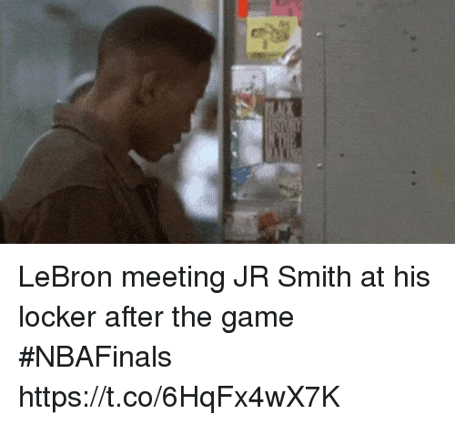 J.R. Smith, Nba, and The Game: LeBron meeting JR Smith at his locker after the game #NBAFinals https://t.co/6HqFx4wX7K