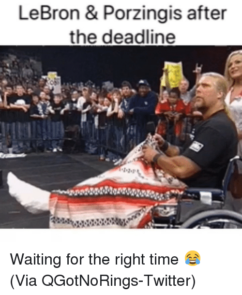 Basketball, Nba, and Sports: LeBron & Porzingis after  the deadline Waiting for the right time 😂 (Via QGotNoRings-Twitter)