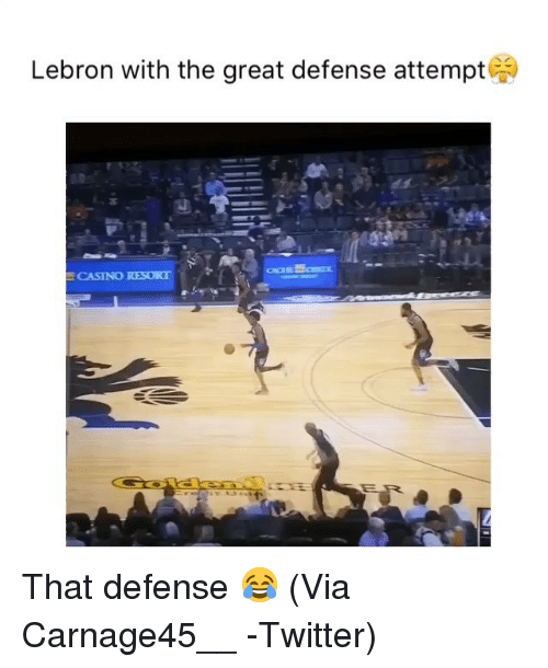 Basketball, Nba, and Sports: Lebron with the great defense attempt  CASINO RESORT That defense 😂 (Via ‪Carnage45__ ‬-Twitter)