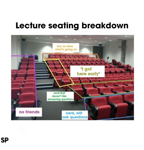 answering: Lecfure seafing breakdown  has no idea  what's going on  l got  here early  nerd that  doesn't like  answering questions  no friends  nerd, will  ask questions  SP