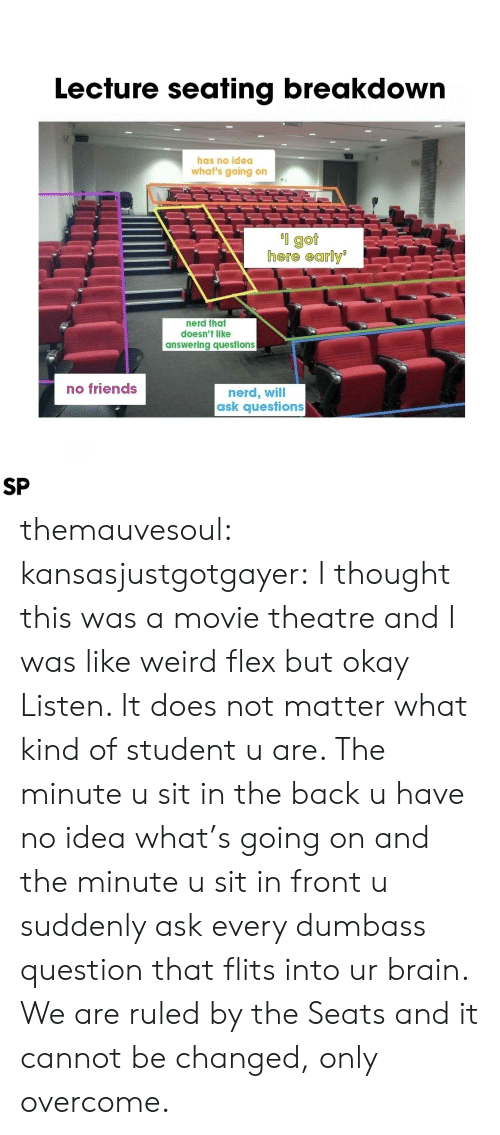 answering: Lecfure seafing breakdown  has no idea  what's going on  l got  here early  nerd that  doesn't like  answering questions  no friends  nerd, will  ask questions  SP themauvesoul:  kansasjustgotgayer: I thought this was a movie theatre and I was like weird flex but okay   Listen. It does not matter what kind of student u are. The minute u sit in the back u have no idea what's going on and the minute u sit in front u suddenly ask every dumbass question that flits into ur brain. We are ruled by the Seats and it cannot be changed, only overcome.