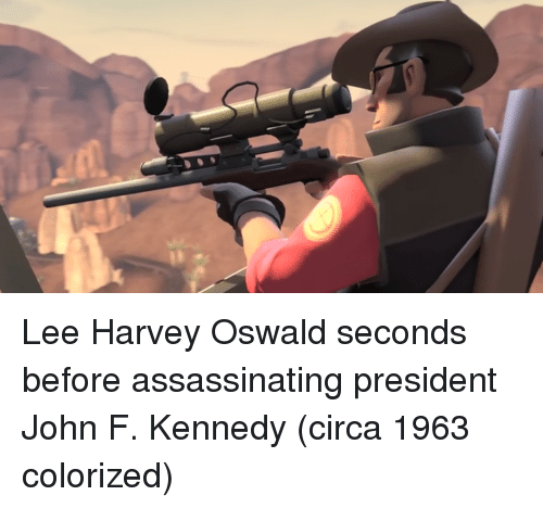 oswald: Lee Harvey Oswald seconds before assassinating president John F. Kennedy (circa 1963 colorized)
