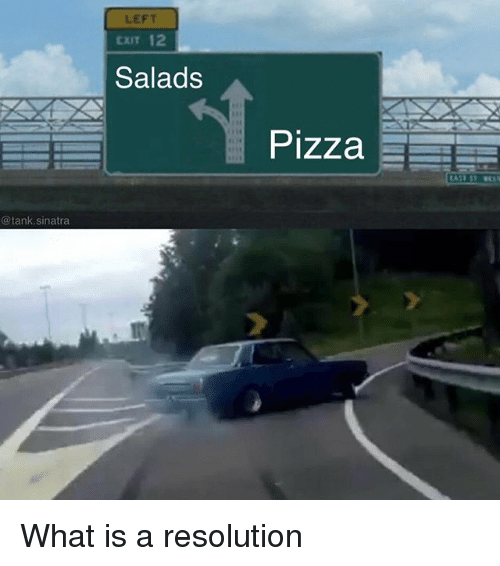 Funny, Pizza, and What Is: LEFT  CXIT 12  Salads  Pizza  @tank.sinatra What is a resolution