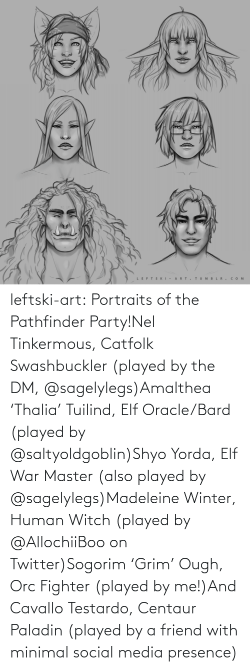 Party: LEFTS KI - A RT.  TUM B L R . сом  >ф leftski-art:  Portraits of the Pathfinder Party!Nel Tinkermous, Catfolk Swashbuckler (played by the DM, @sagelylegs)Amalthea 'Thalia' Tuilind, Elf Oracle/Bard (played by @saltyoldgoblin)Shyo Yorda, Elf War Master (also played by @sagelylegs)Madeleine Winter, Human Witch (played by @AllochiiBoo on Twitter)Sogorim 'Grim' Ough, Orc Fighter (played by me!)And Cavallo Testardo, Centaur Paladin (played by a friend with minimal social media presence)