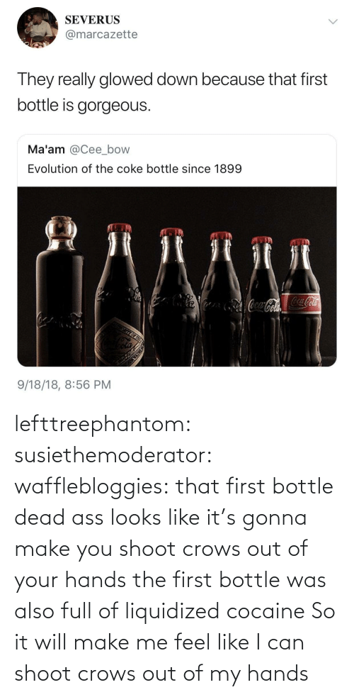 ass: lefttreephantom: susiethemoderator:  wafflebloggies: that first bottle dead ass looks like it's gonna make you shoot crows out of your hands the first bottle was also full of liquidized cocaine   So it will make me feel like I can shoot crows out of my hands