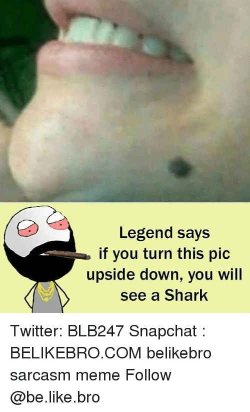 Be Like, Meme, and Memes: Legend says  if you turn this pic  upside down, you will  see a Shark Twitter: BLB247 Snapchat : BELIKEBRO.COM belikebro sarcasm meme Follow @be.like.bro