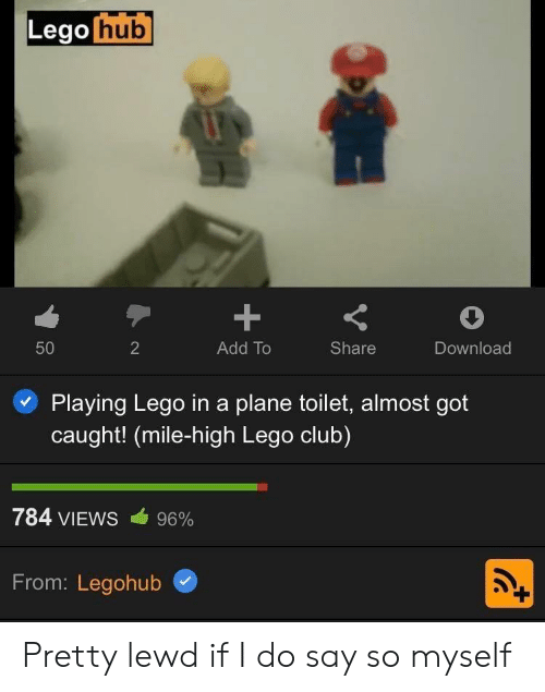 Caught: Lego hub  +  50  2  Add To  Share  Download  Playing Lego ina plane toilet, almost got  caught! (mile-high Lego club)  784 VIEWS  96%  From: Legohub Pretty lewd if I do say so myself