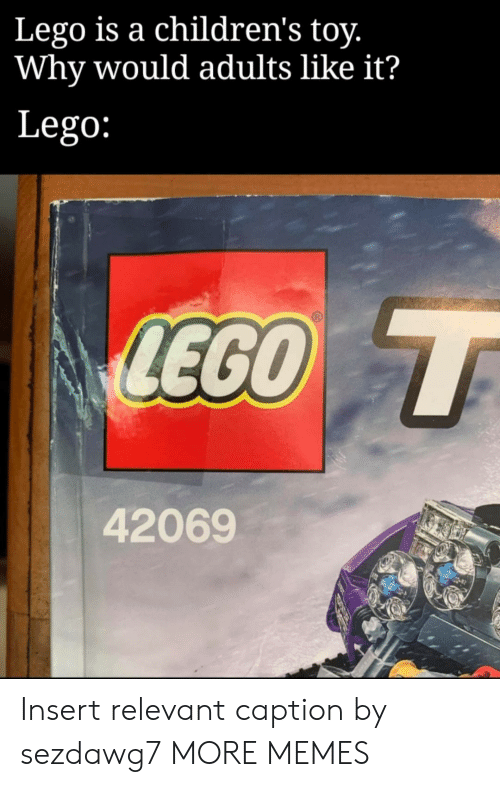 Dank, Lego, and Memes: Lego is a children's toy.  Why would adults like it?  Lego:  LEGO T  42069 Insert relevant caption by sezdawg7 MORE MEMES