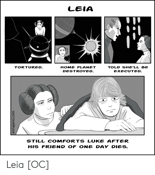 luke: LEIA  HOME PLANET  TORTURED.  TOLD SHE'LL BE  DESTROYED.  EXECUTED.  STILL COMFORTS LUKE AFTER  HIS FRIEND OF ONE DAY DIES.  annajano.com Leia [OC]